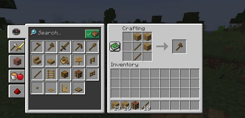 The crafting recipe for a wooden axe in Minecraft (Image via Minecraft)