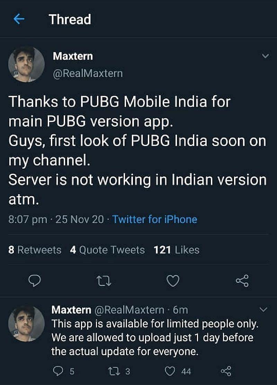 Maxtern का डिलीट किया गया ट्वीट