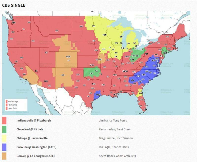 NFL Week 16 coverage map: CBS