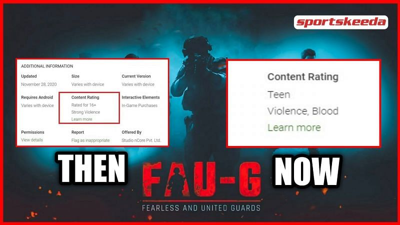 The content rating for FAU-G has been changed