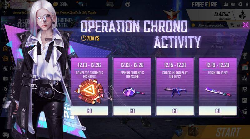 The Operation Chrono activity page