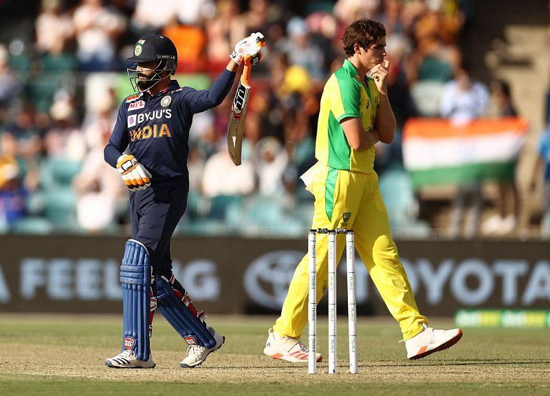 Ravindra Jadeja after reaching his 13th ODI half-century