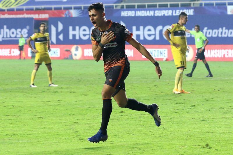 Ishan Pandita celebrates after scoring the equalizer against Hyderabad FC (Image Courtesy: ISL Media)