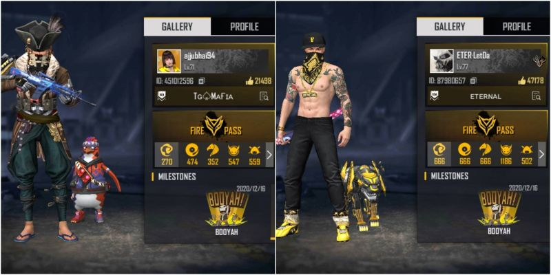 Garena Free Fire IDs of Ajjubhai and LetDa Hyper