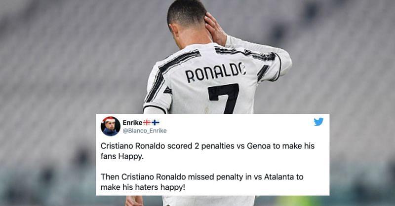 Cristiano Ronaldo failed to score his penalty as Atalanta held them to a 1-1 draw at home