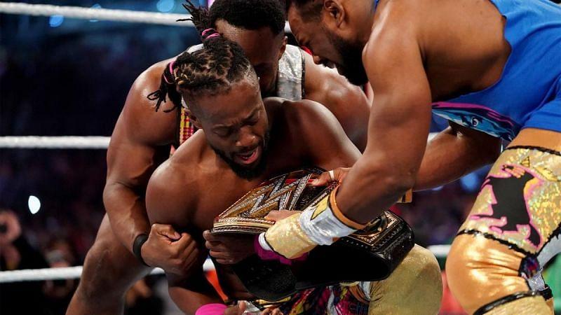 Kofi Kingston right after winning the WWE Championship at WrestleMania 35