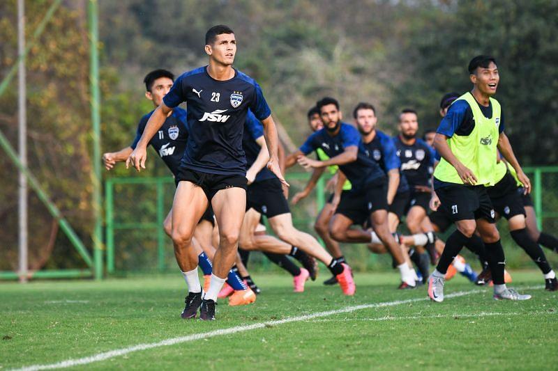 Bengaluru FC players in training at the Dempo SC training facilities in Carambolim in Goa.