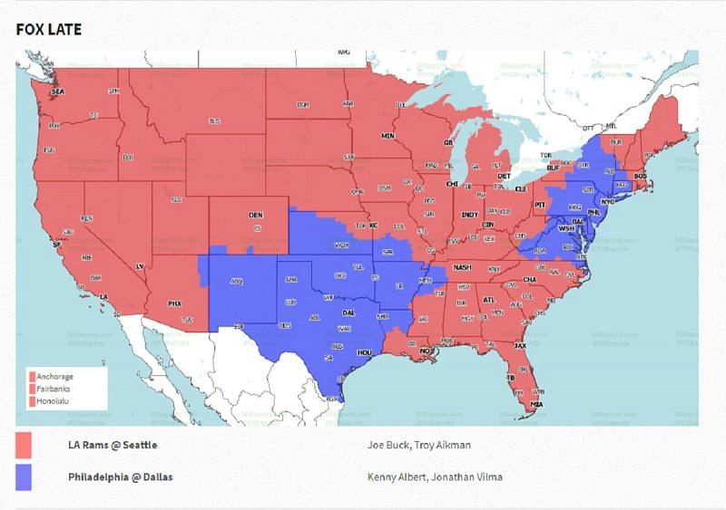 NFL Week 16 coverage map: FOX late games
