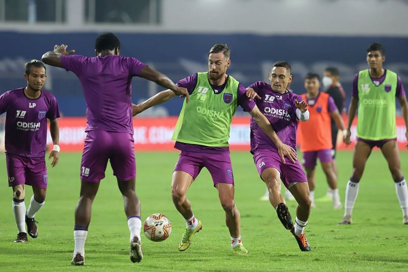 Odisha FC players train ahead of their contest against NorthEast United (Image Courtesy: ISL Media)