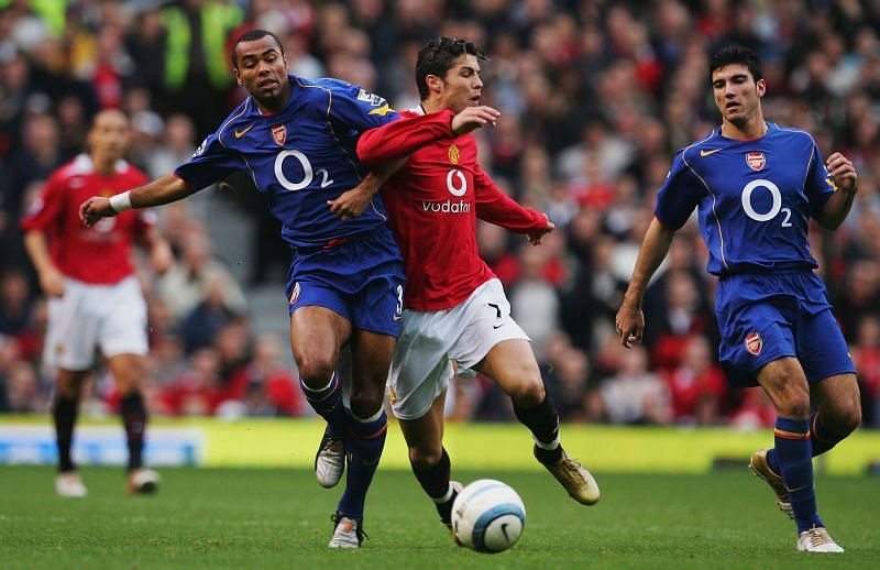 Ashley Cole and a young Cristiano Ronaldo battle it out