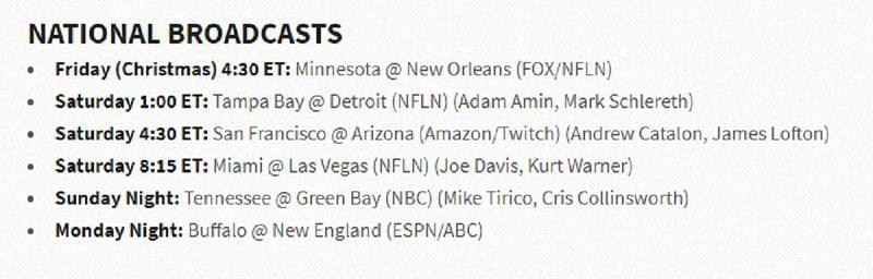 NFL Week 16: National TV games