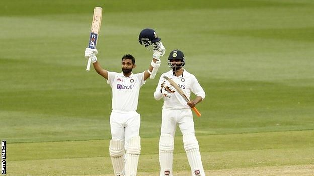 Ajinkya Rahane and Ravindra Jadeja scored an unbeaten partnership of 104 runs. Photo source: BBC