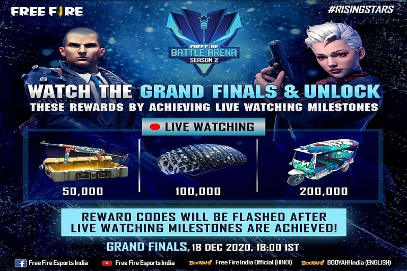 Garena Free Fire had set 3 live-watching rewards for the FFBA finals (Image via Free Fire / Instagram)