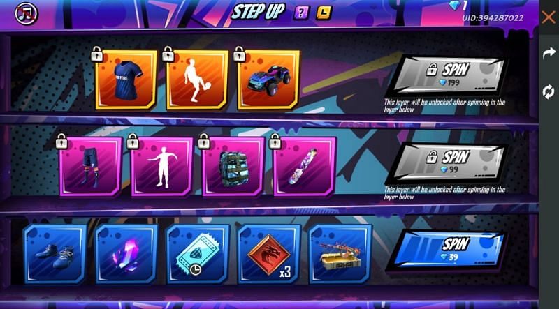 The Step Up event in Free Fire