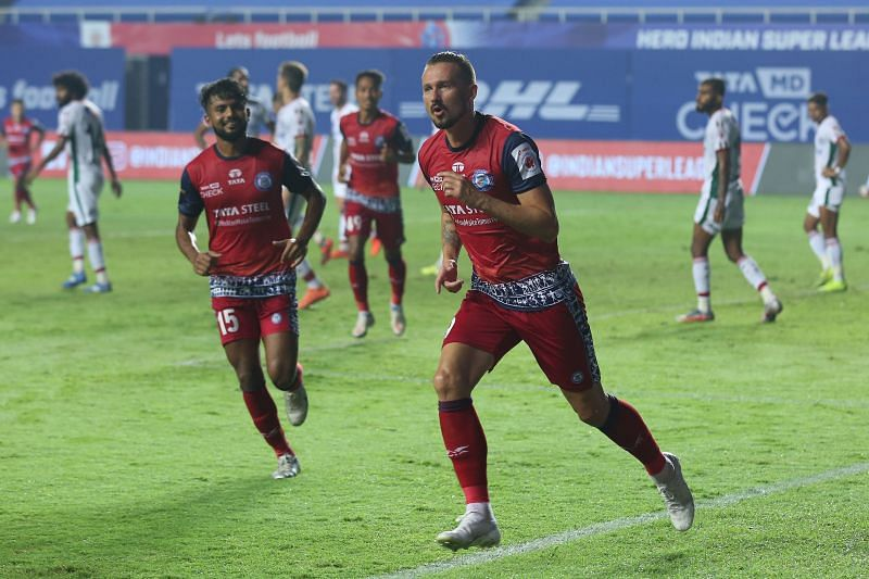 Nerijus Valskis has scored 6 goals in 7 matches for Jamshedpur FC. (Image: ISL)