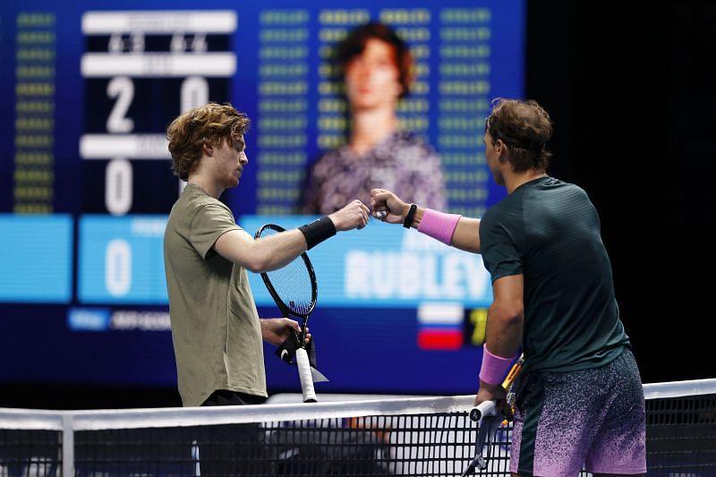 Andrey Rublev and Rafael Nadal at the Nitto ATP Finals