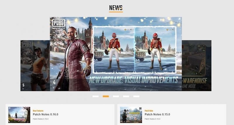 The news section of the PUBG Mobile Lite's official website