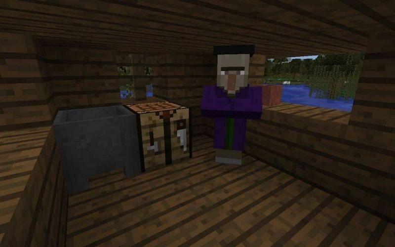 A cauldron inside of a swamp hut in Minecraft Bedrock Edition. (Image via minecraftseedhq.com)