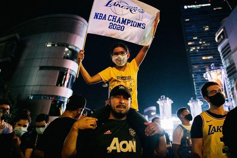 Fans Celebrate In Los Angeles After LA Lakers Wins 2020 NBA Finals