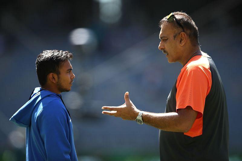 Prithvi Shaw with Indian Head Coach Ravi Shastri.