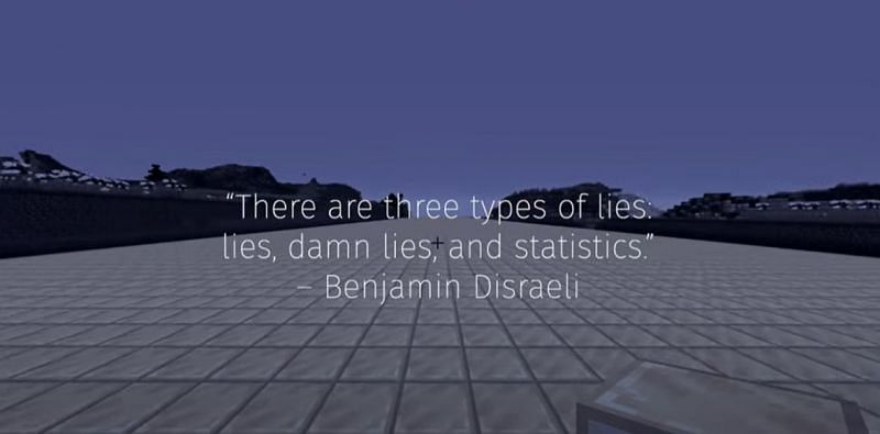 Statistics can be difficult and misleading as echoed in this quote by Benjamin Disraeli. (Image via DreamXD/YouTube)