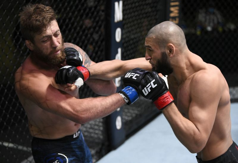 Khamzat Chimaev of Chechnya punches Gerald Meerschaert