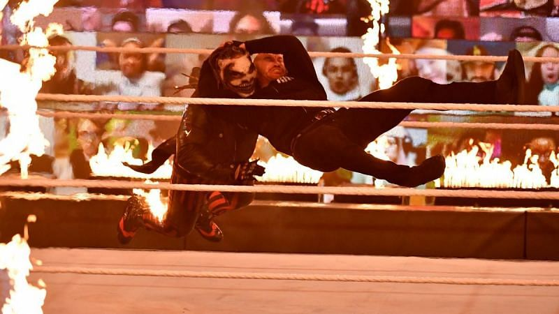 Randy Orton with an RKO on The Fiend
