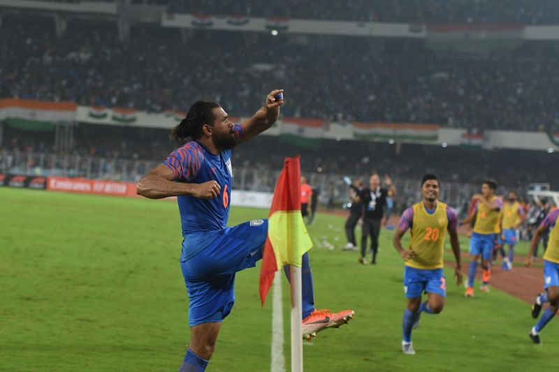 Adil Khan celebrates after scoring against Bangladesh (Image Courtesy: AIFF Media)