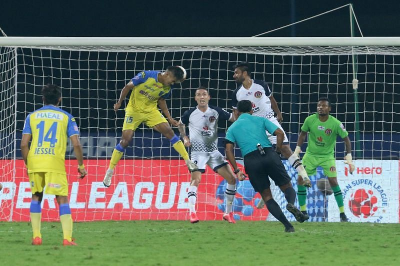 Jeakson Singh scored from a brilliant header to cap off his impressive performance. Courtesy: ISL