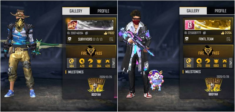 Free Fire IDs of Amitbhai and Frontal Gaming