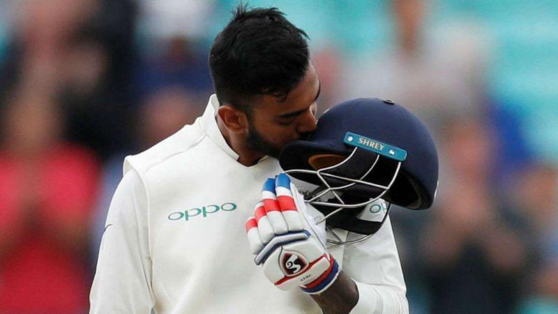 KL Rahul celebrates after scoring a Test hundred