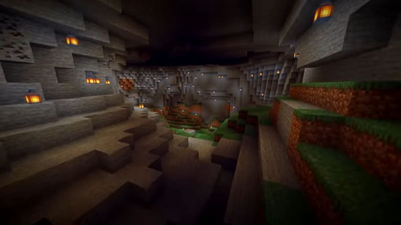 A Minecraft seed with two large and spacious caves inside of mountains. (Image via Minecraft & Chill/YouTube)