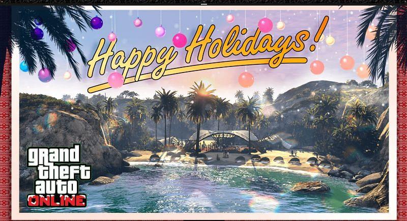 GTA Holidays 2020 brings snow to Los Santos as well as some cool bonuses for players (Image via Rockstar Newswire)