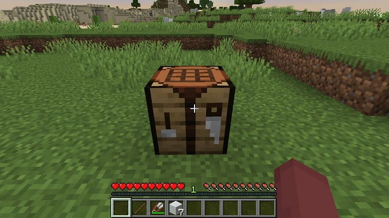 Once you have a minimum of 6 pieces of wool, you can place down your crafting table to start crafting
