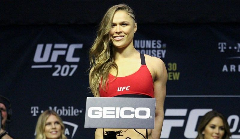 Ronda Rousey at the UFC 207 weigh-ins