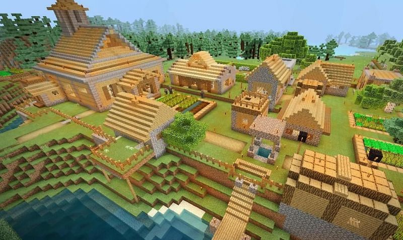 Villages in Minecraft are filled with awesome resources that can be used by players (Image via Minecraft)
