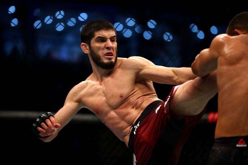 Islam Makhachev throwing a kick