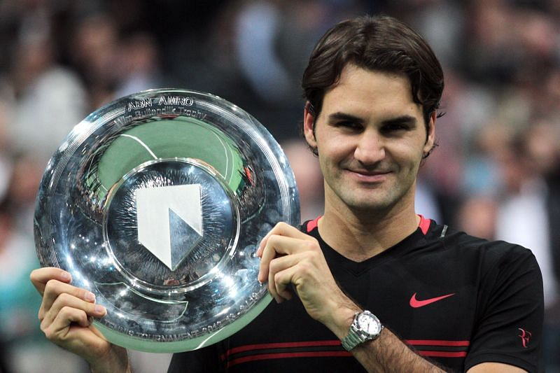 Roger Federer after winning the ABN AMRO World Tennis Tournament in Rotterdam in 2012