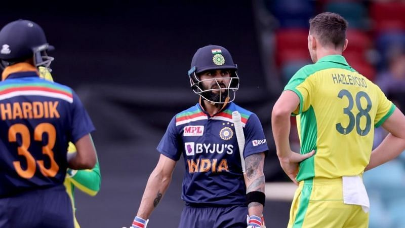 Josh Hazlewood had the wood over Virat Kohli in the ODIs. Pic: ICC/Twitter