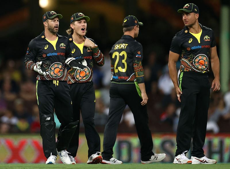 Matthew Wade (extreme left) led by example in the second T20I