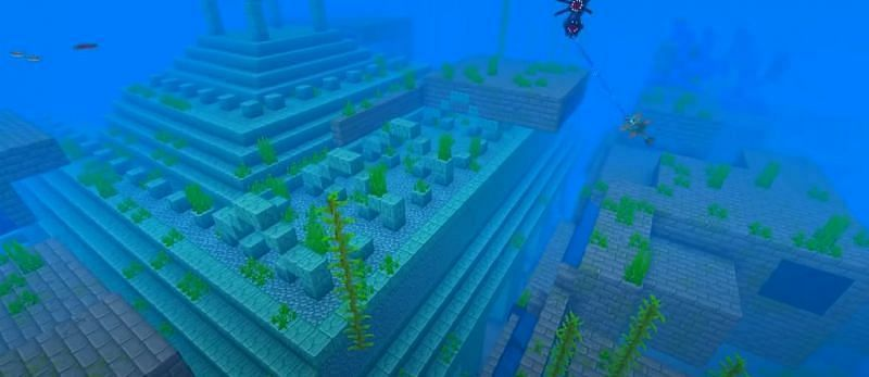 An Ocean Monument and Stronghold that were generated mixed together in Minecraft (Image via Minecraft & Chill/YouTube)