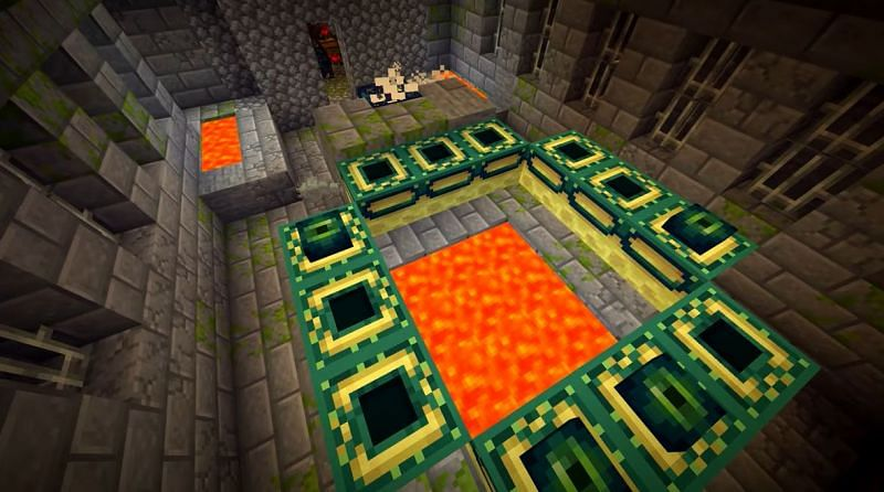 A Dungeon with a mob spawner can be found right next to the End Portal in this Minecraft seed (Image via Minecraft & Chill/YouTube)