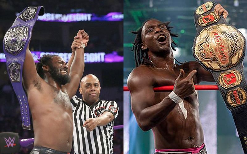 Rich Swann with the Cruiserweight Championship on the first-ever episode of 205 Live and with the Impact World Championship in 2020.