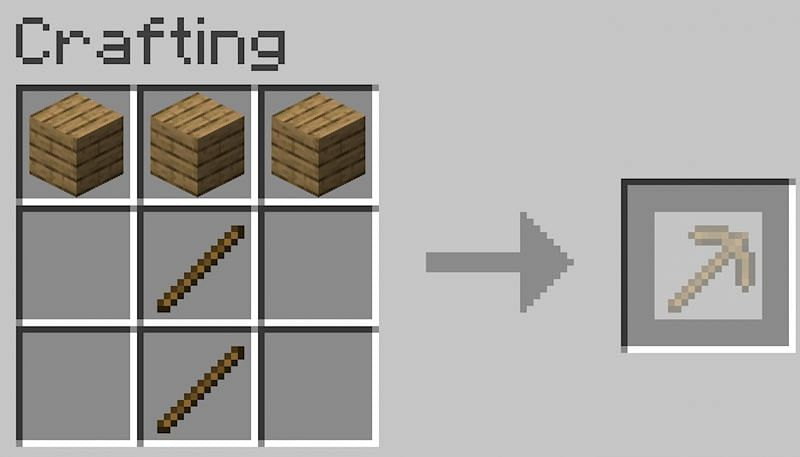 To make a pickaxe place two sticks under the middle plank