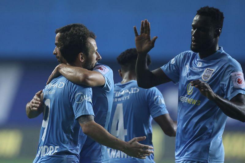 Adam le Fondre and Mourtada Fall of Mumbai City FC (Image courtesy: ISL)