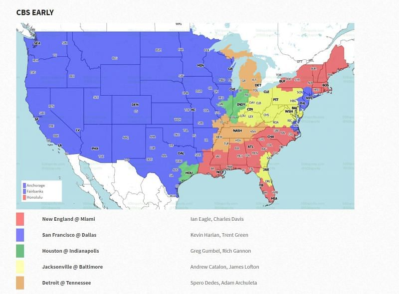 Week 15 CBS Early Coverage Map--Source: 506sports.com