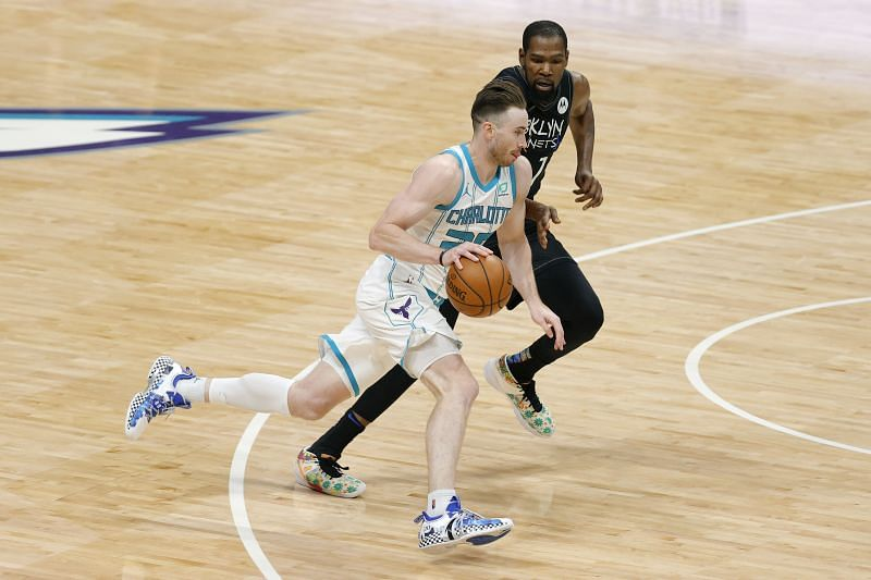 Gordon Hayward in action for the Charlotte Hornets against the Brooklyn Nets