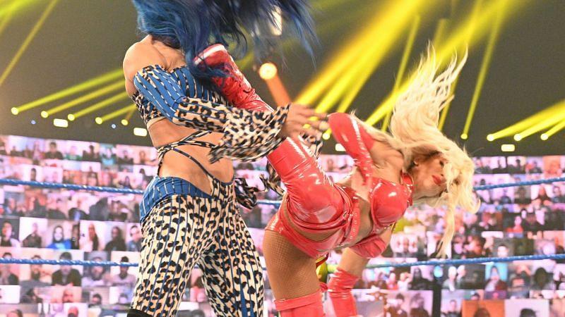 Carmella and Sasha Banks on WWE SmackDown