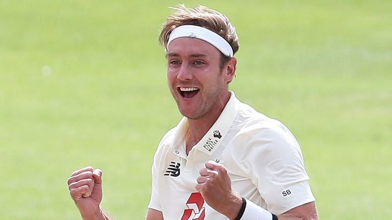 Stuart Broad celebrates after reaching 500 wickets. Photo source: Sky Sports