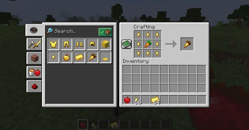 The crafting recipe for a golden carrot in Minecraft. (Image via Minecraft)